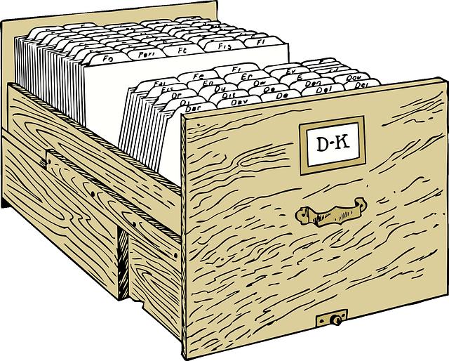 dřevěný šuplík, kartotéka