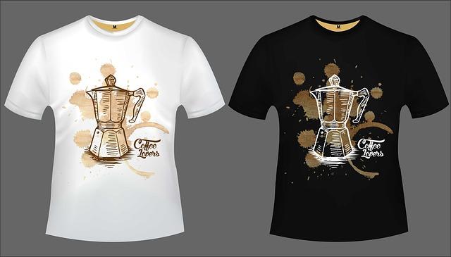 černé a bílé tričko coffe lovers