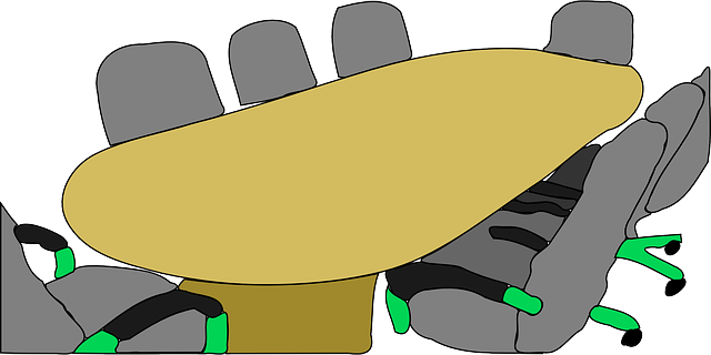 nákres oválného stolu, židličky