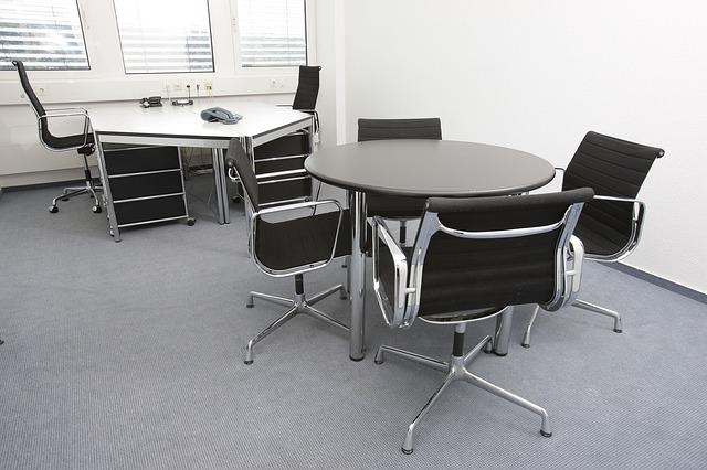 kancelář, kulatý stůl, židle