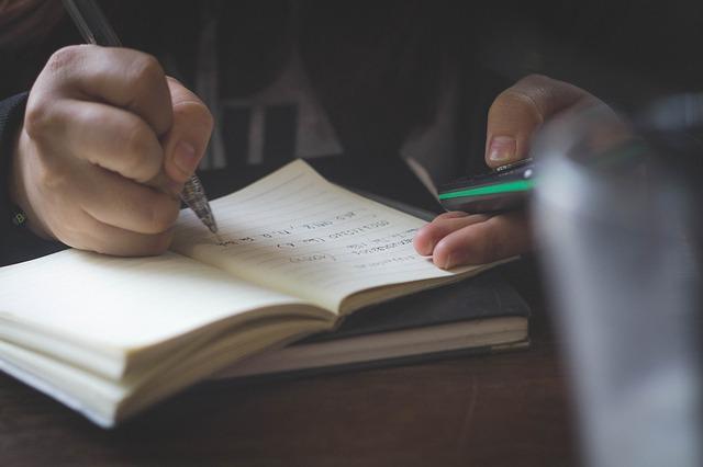 psaní do sešítku