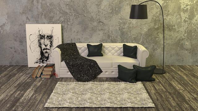 Aplikace podlahy v obývacím pokoji