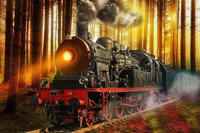 Vizualizace staré parní lokomotivy
