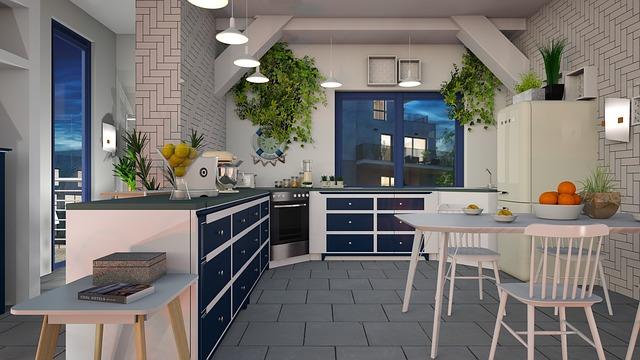 modro - bílá kuchyň
