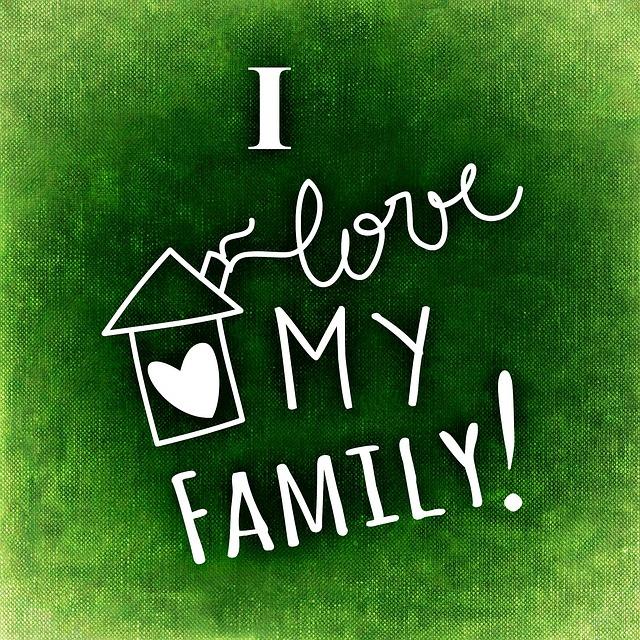 Nápis na zeleném pozadí. I LOVE MY FAMILY